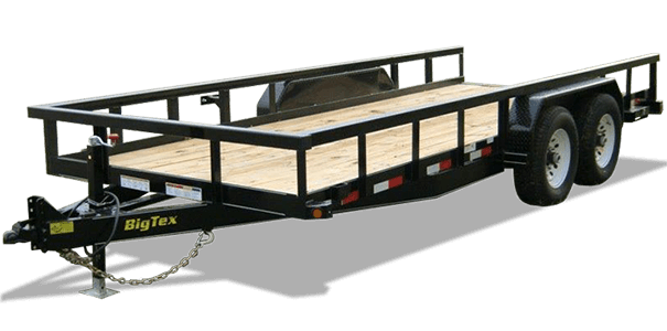 The 14pi From Big Tex Is A Heavy Duty Pipe Top Equipment Trailer This Unit Comes Standard With An Adjustable Forged Coupler Led Lights And A Treated